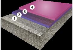 Гладкое высоконаполненное цветное эпоксидное покрытие, толщиной 3,5-5,0 мм