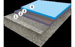 Гладкое высоконаполненное цветное полиуретановое покрытие, толщиной 3,5-5,0 мм
