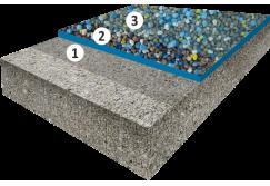 Гладкое высоконаполненное покрытие с цветным кварцевым песком, толщиной 2,5-3,5 мм