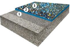 Гладкое высоконаполненное покрытие с цветным кварцевым песком, толщиной 2,0-3,5 мм